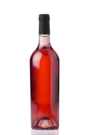 rose wine: A bottle of rose wine isolated against a white background