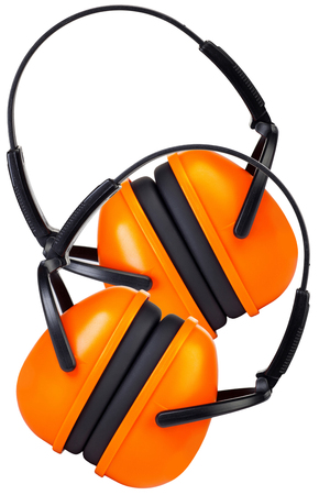 hearing protection: Two Hearing Protection Ear Muffs isolated on White Background Stock Photo