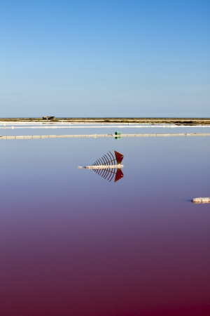 discolored: View over the water surface of a reddish discolored salt basin with a metal sculpture in Gruissan in southern France