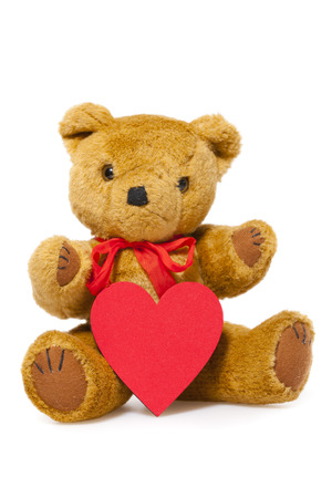 valentine s day teddy bear: Stuffed animal teddy with a red Heart isolated on white Background with Copy Space on the Heart Stock Photo