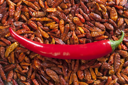 piri piri: dried chili peppers and a whole Piri Piri chilli pepper