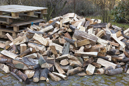 woodpile: Large quantity of Chopped firewood on a pile