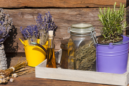 Summer crop of dried lavender, rosemary, poppy seeds and poppy seed oil photo