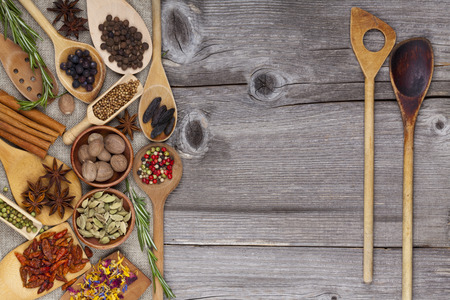 Two wooden Spoons with Spices and Herbs photo