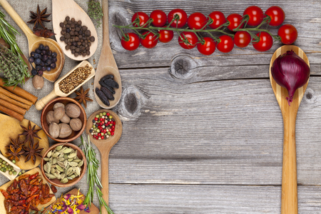 Menu card in country style with spices and tomatoes photo