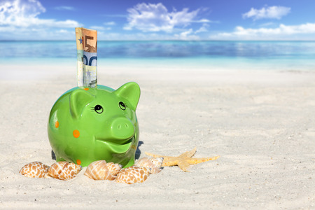 Piggy bank savings with banknotes, Seashells and Starfish on the beach with much Copy Space for additional information