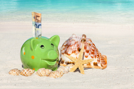 non cash: Piggy bank savings with banknotes, Seashells and Starfish on the beach with much Copy Space for additional information