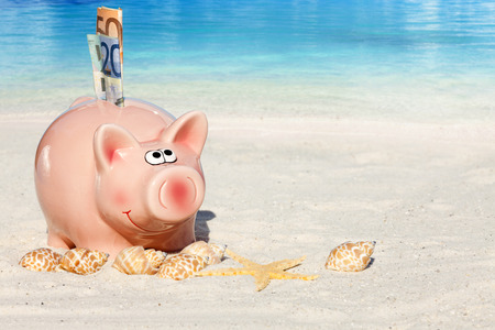 holiday budget: Piggy bank savings with banknotes, Seashells and Starfish on the beach with much Copy Space for additional information