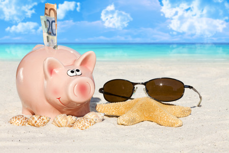 holiday budget: Piggy bank savings with banknotes, Seashells, Starfish and Sunglasses on the beach with much Copy Space for additional information