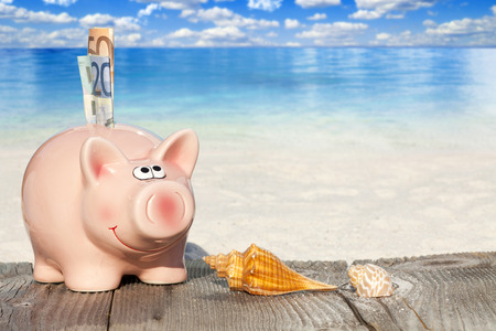 non cash: Piggy bank with banknotes, Seashells and Starfish on Wooden Baords at the beach with much Copy Space for additional information Stock Photo