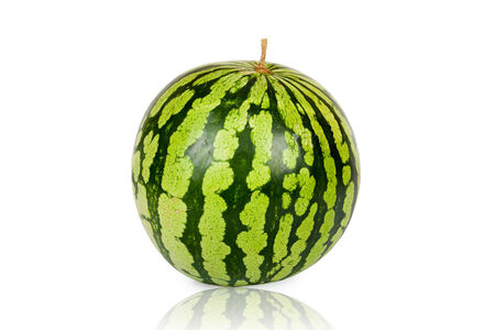 mirrored: One whole Watermelon isolated and mirrored on white Background Stock Photo