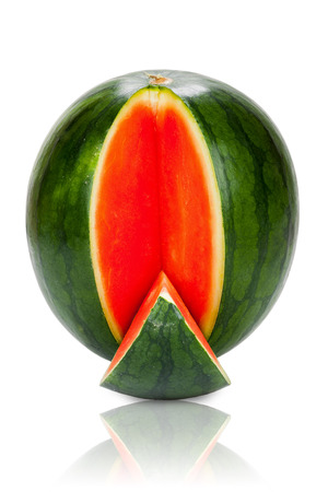 Fresh whole Watermelon with one sliced piece isolated and mirrored on white Background