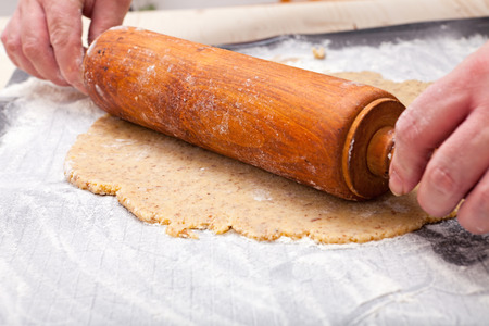 roll out: Roll out with wooden rolling pin the biscuit dough on the baking mat