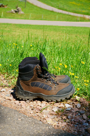 hiking boots: Hiking boots stand on the wayside in front of a summer meadow