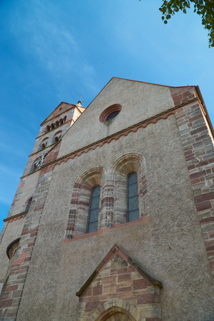 saint stephen cathedral: Front view of the Stephan Cathedral in front of bright blue sky in Breisach on the Upper Rhine in Baden-Württemberg