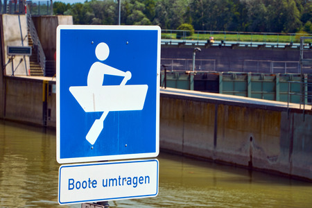 canal lock: Traffic sign at a canal lock in Breisach on the Upper Rhine