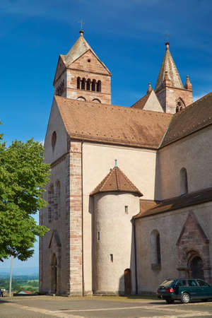 saint stephen cathedral: Detail view of the Stephan Cathedral in front of bright blue sky in Breisach on the Upper Rhine in Baden-Württemberg Editorial