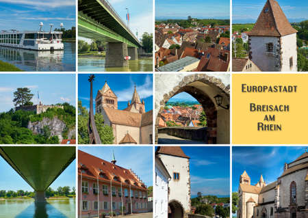 impressions: Postcard with impressions and pictures of Breisach on the Upper Rhine Stock Photo