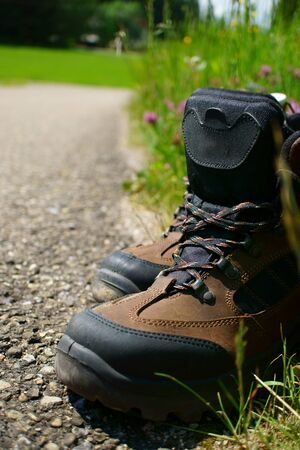 Close-up of Hiking boots on the roadside beside a summer meadow photo