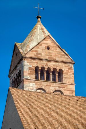 saint stephen cathedral: Detail view of the Stephan Cathedral in front of bright blue sky in Breisach on the Upper Rhine in Baden-Württemberg Stock Photo