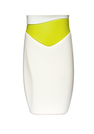 suntan lotion: White Bottle with suntan lotion isolated on white background