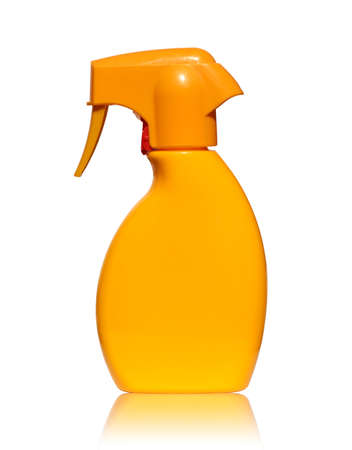 suntan lotion: Orange Bottle with suntan lotion mirrored and isolated on white background Stock Photo
