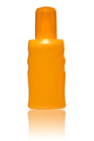 mirrored: Orange pump spray Bottle with suntan lotion mirrored and isolated on white background