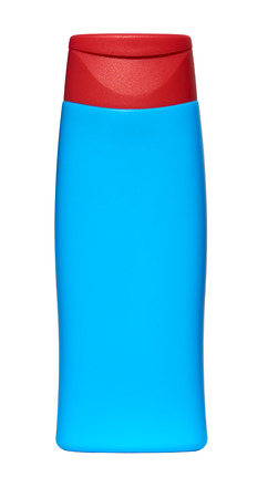 suntan lotion: Blue Bottle with suntan lotion isolated on white background