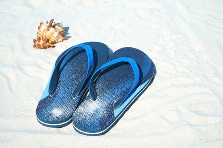 flip flops: Blue Flip flops and shell on the beach