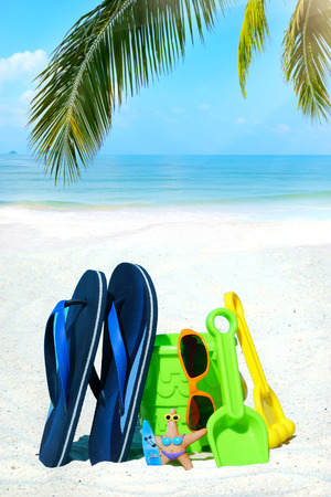 palm frond: Blue flip flops, colorful beach toys and sunglasses under palm frond on the beach