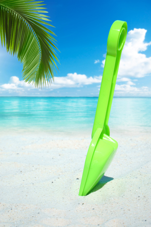 frond: Green plastic shovel beach toy under a palm frond on the beach