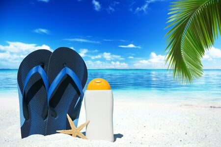 frond: Blue flip flops, suntan lotion and a starfish under palm frond on the beach Stock Photo