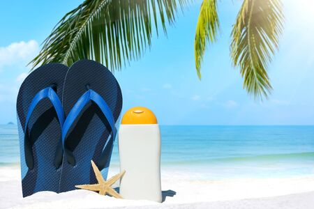 frond: Blue flip flops, suntan lotion and sea star under palm frond on the beach