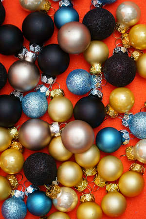 many christmas baubles: Colorful Christmas Background with many Christmas Baubles