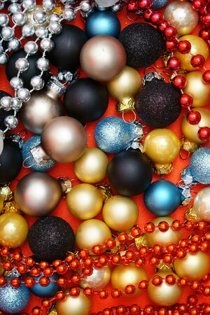 christmas motive: Colorful Christmas Background with many Christmas Baubles