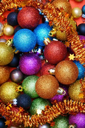 christmas motive: Colorful Christmas Background with many Christmas Baubles and Garland Stock Photo