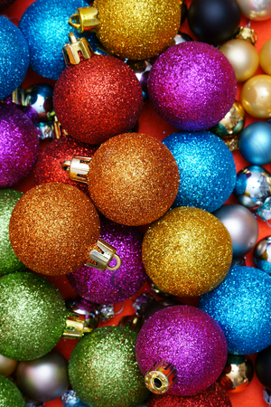 shiny christmas baubles: Colorful Christmas Background with many Christmas Baubles