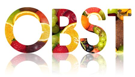 alphabetic character: The word OBST cut out from a background of fruits ( Obst the german word for fruit)