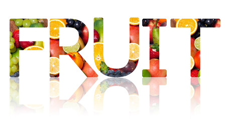 alphabetic character: The word fruit cut out from a background of fruits Stock Photo