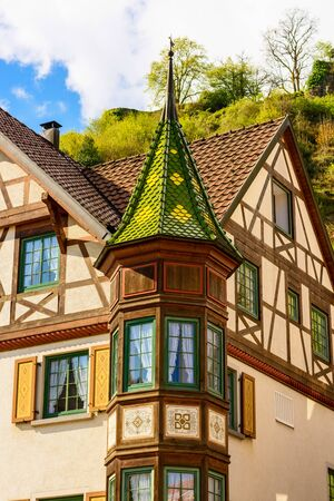 half timbered house: Rich decorated tower at a historic half-timbered house in Hornberg in the Black Forest