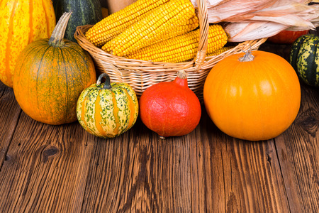 Autumn harvest festival pumpkins in front of a basket with corn cobs on a rustic wooden background with copy space in the lower area of the picture