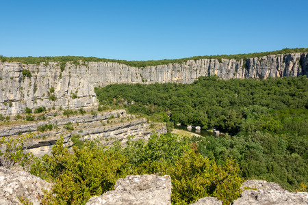 Beautiful landscape with gorges and rocks at the river Ardeche at