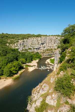 Beautiful view of the river Ardeche, framed by forests and gorges at