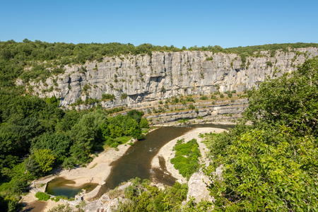 Panoramic view of the rocks on the river Ardeche at