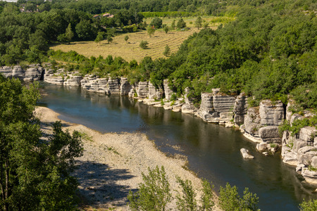 The rocks on the river Ardeche at