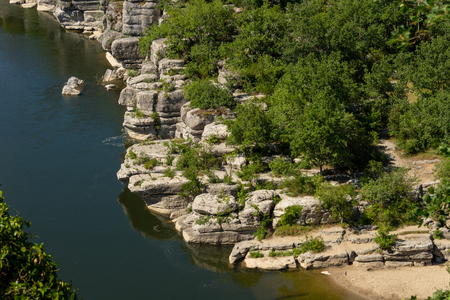 Panorama Landscape by the river Ardeche, framed by trees and gorges at