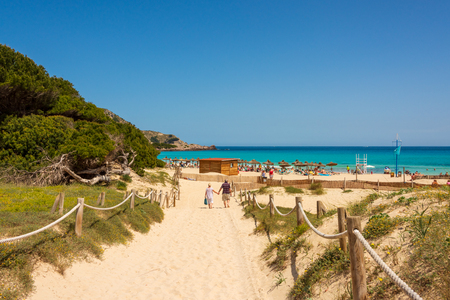 Beautiful view to the Mediterranean Sea from the beach Cala Agulla on the Spanish holiday island Mallorca