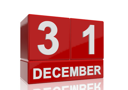 The date of 31 December in white numbers and letters on red, glossy blocks, standing and mirrored isolated in front of a white background.