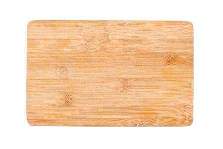 Piccolo tagliere usato per la colazione isolato su sfondo bianco