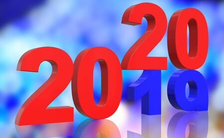 3D Render Turn of the Year 2019 to 2020 in blue and red numbers in front of a colorful abstract background